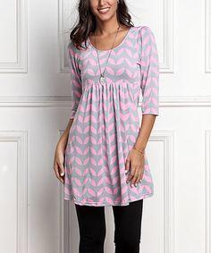 Loving this Gray & Pink Geo-Leaf Empire-Waist Tunic Dress on #zulily! #zulilyfinds
