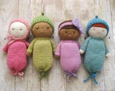 2018 Dispatch. First Dolly!  Pint sized baby dolls perfect for tiny hands. Each one hand knitted to order with love.