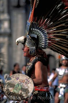 Aztec dancer in the Zocalo central plaza, Mexico City, Mexico
