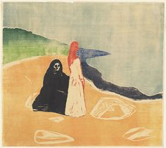Two women on the shore (woodcut, 1898) Edvard Munch