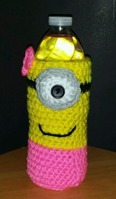 244a1abba1 New Handmade Crochet Female Minion Water Bottle Cozy Sleeve Despicable Me  Gift in Home &