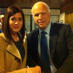 Caroline Azar with Senator John McCain on Tuesday, November 11th when he spoke at the National Press Club.