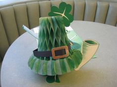 Vintage St. Patrick's Day Honeycomb Tissue Centerpiece, Green Top Hat, Pipe, Shamrocks, Party Table Decoration