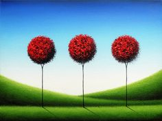 Red Tree Art Modern Abstract Art Poster Contemporary by BingArt