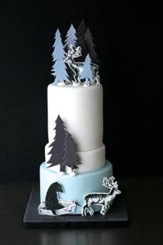 Modern reindeer winter wedding cake