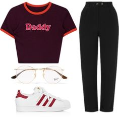 Untitled #1177 by noellescholte on Polyvore featuring Topshop, adidas and Ray-Ban