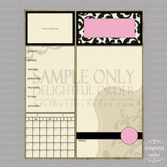 16 x 20 Pink Damask Child Message Center (JPEG File)