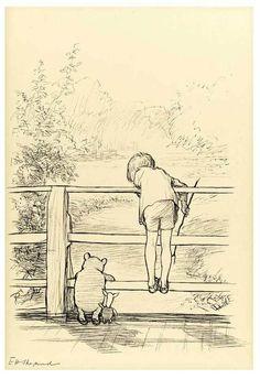 E.H. Shepard's original Christopher Robin and Piglet on the 'Poohsticks' Bridge