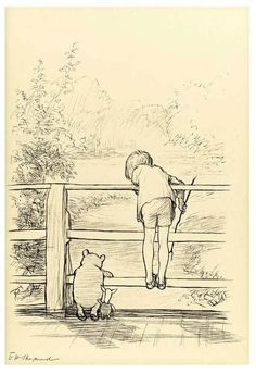 E.H. Shepard's original Christopher Robin and Piglet on the 'Poohsticks' Bridge