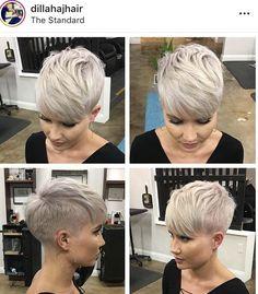 New Pixie Haircut Ideas in 2019 – The UnderCut - Pixie Bob Frisuren Super Short Hair, Short Grey Hair, Short Hair Cuts, Grey Hair Undercut, Undercut Hairstyles, Superkurzer Pixie, Pelo Pixie, Pixie Bangs, Long Pixie