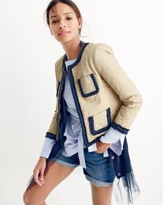 J.Crew women's Tulle-hem cardigan sweater, quilted safari jacket, striped boatneck tunic, and high-rise denim short in Brixton wash.