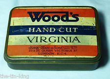 SUPER VINTAGE TOBACCO TIN WOODS HAND CUT VIRGINIA RED WHITE & BLUE