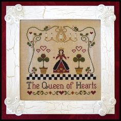 Classic Colorworks Queen of Hearts - Cross Stitch Pattern. Model stitched on 32 Ct. Winter Brew linen by R&R Reproduction with Classic Colorworks and DMC floss.