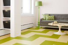 linoleum flooring Use cork-backed click-together squares to lay a floating floor in an endless array of colorful patterns like this eye-catching design Click Flooring, Vinyl Flooring, Kitchen Flooring, Flooring Tiles, Clean Linoleum Floors, Floating Floor, House Deck, Decoration, Old Houses