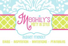 Meghily's ~ Party in Style is donating a Custom made invite and printable package or $30 shop credit on invite/package already listed in the Etsy Shop.    Shop: http://www.etsy.com/shop/meghilys