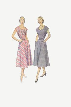 1950s Casual House Dress Simplicity Sewing Pattern Short Sleeves Sweetheart Neck Full Skirt Fitted Bodice Belted Waist Bust 36. $11.50, via Etsy.
