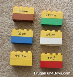 Activities for Learning Letters and Numbers with Duplo Lego - Just need Duplos and a wipe-off marker!