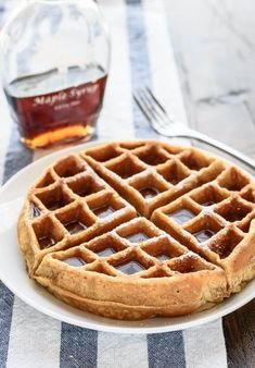Healthy Waffle Recipe For One.Whole Wheat Waffles Easy Blender Recipe With Applesauce. Easy Gluten Free Waffles Recipe Cookie And Kate. Vegan Chicken And Waffles Made W Oyster Mushrooms Recipe . Home and Family Yummy Waffles, Fluffy Waffles, Healthy Waffles, Protein Waffles, Pancakes And Waffles, One Waffle Recipe, Waffle Maker Recipes, Whole Wheat Waffles, Allergies Alimentaires