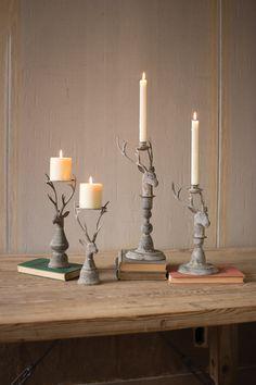 Set Of 2 Deer Pillar Candle Holders