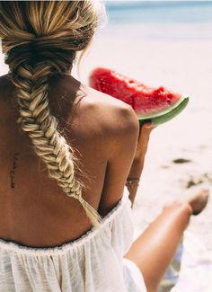 Summer days. French plaits, fresh watermelon & beach adventures.