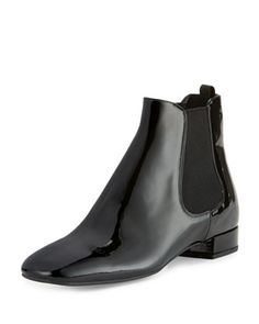 Patent Leather 20mm Chelsea Boot, Black (Nero) by Prada at Neiman Marcus.