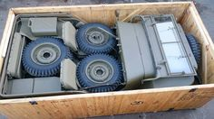 Jeep packed in a crate for shipping to the front lines of WWII.