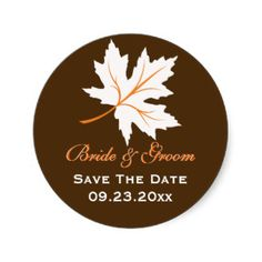 Elegant maple leaves fall wedding Save the Date Round Sticker