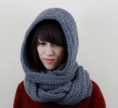 Hooded Scarf Hoodie  Can be crocheted, Knit, or even sewn Simple colors or patterns please!