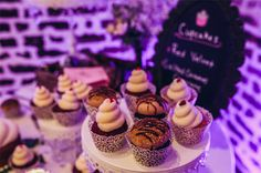 The dramatic wedding cupcake table at Mitchum & Linse's fantastic Upstairs at Midtown reception!  | Photo credit Richard Bell Photography #weddingcupcakes