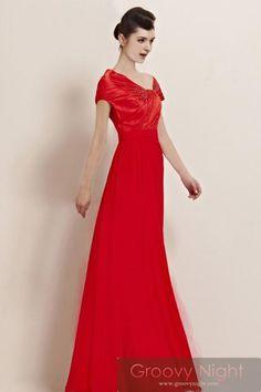 注目レッド!!キャップスリーブで少し控えめに プロムロングドレス♪ - ロングドレス・パーティードレスはGN 演奏会や結婚式に大活躍!