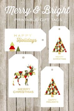 Free printable Merry & Bright gift tags. These are adorable yet classy!