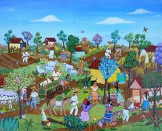 In the mood for some Mexican? I'm talking about Mexican Naive Art! 'At the Ranch,' by Yorbelith Toledo Monroy