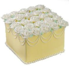Ready for Roses Cake ~ Always impressive roses blanket the cake top; elegant bead swags decorate the cake sides. Perfect for birthday, shower, Mother's Day and wedding!
