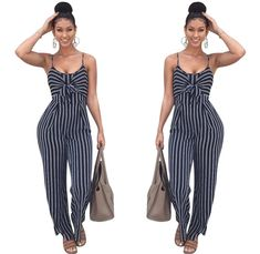 594dff44e44d New Women Wide Leg Jumpsuits Rompers Sexy Cut Out Striped Bow Tie Ladies  Jumpsuit Office Ladies Casual Wear Printed Overalls