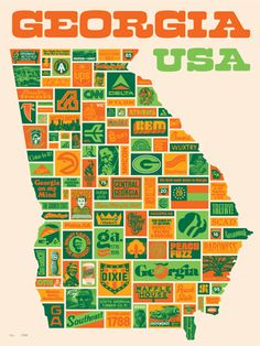 draplin design: georgia usa...actually lived in this state 52 years before moving to Maine