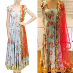 Aqua Blue floral anarkali Fabric : creap Bottom : shantoon Dupatta : Pink net Semi stitched Available with us Watsapp - +91 9930777376 Email - fashioncloset06@gmail.com Or DM for enquiries.