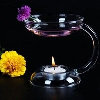 Wish   Glass Candlestick Candle Holder Aroma Oil Burner Warmer Stove Hold Tealight