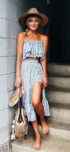What is summer without a cute two piece striped outfit... What to Wear to the Beach This Summer