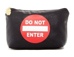 855678fb7145 Betsey Johnson Black White Red New  do Not Enter  Pouch Or Clutch Lb22100 Cosmetic  Bag 20% off retail. Cosmetic PouchYslMakeup BrushesBetsey ...