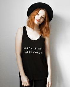 """Schwarzes Oversize-Top mit Rundhalsschnitt und Print """"Schwarz ist meine fröhliche Farbe"""" / black oversized shirt """"black is my happy color"""" by prettysucks via DaWanda.com"""