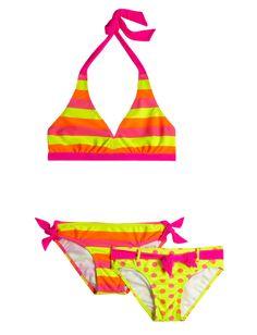 3 Piece Stripe And Dot Bikini Swimsuit | Reversible Bikini Top | Item Groups | Shop Justice