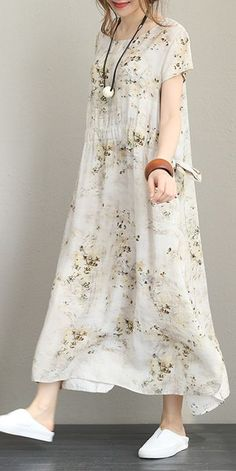 Elegant Beige Floral Maxi Dress Women Linen Clothes Q1226