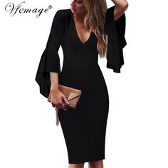 Vfemage Womens Sexy Deep V-neck Flare Bell Long Sleeves Elegant Work  Business Casual Party Slim Sheath Bodycon Pencil Dress 7925 - TakoFashion -  Women s ... 0a8303382726