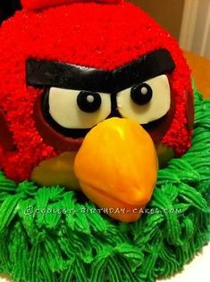Coolest Red Bird Angry Birds Birthday Cake... This website is the Pinterest of homemade birthday cakes