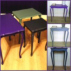 HJERTEHJORT ReDesign bord i 3 ulike farger! Redesign of old tables in 3 different matching colours