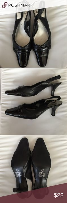 Black Sling-Back Heels Mootsies Tootsies Sling Back Black Heels. Patent Leather on tips. Size 7.5. Worn once. 3 inch heel. Shoes Heels