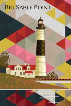 BIG SABEL POINT LIGHTHOUSE in September Big Sable sits in front of a wide beach on Lake Michigan. The warm sands in summer are one of my favorite places to go on a July summer day. Graphic Design Illustration, Illustration Art, Detroit Motors, Lighthouse Art, Detroit Area, City Art, Michigan, Digital Art, Art Prints