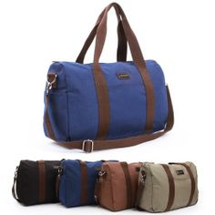 Canvas Duffle Bags Gym Bag for Men Blue Messenger Bag Mens Tote Bag CHANCHAN 104
