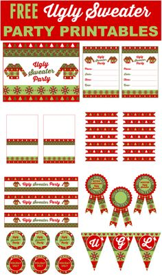 Free Ugly Sweater Party Printables perfect for your holiday and Christmas parties. You'll find everything you need to throw a cool Ugly Christmas Sweater party! See more party ideas and free printables at CatchMyParty.com.