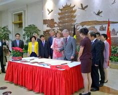 Queen Mathilde of Belgium and King Philippe - Filip of Belgium pictured during a visit at Wuhan Urban Planning Exhibition Hall on the second day of a royal visit to China,